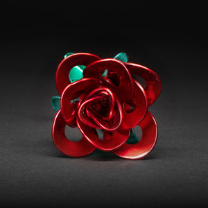 Red and Green Immortal Rose, Recycled Metal Rose, Steel Rose Sculpture, Welded Rose Art, Steampunk Rose, Unique Gift for Valentine's Day.