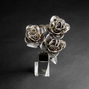 Three Metal Roses and Vase, Metal Roses and Vase, Steampunk Roses Centerpiece, Welded Roses.