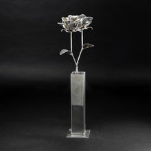 Two Metal Roses and Vase, Metal Roses with Vase, Steampunk Roses Centerpiece, Welded Roses.