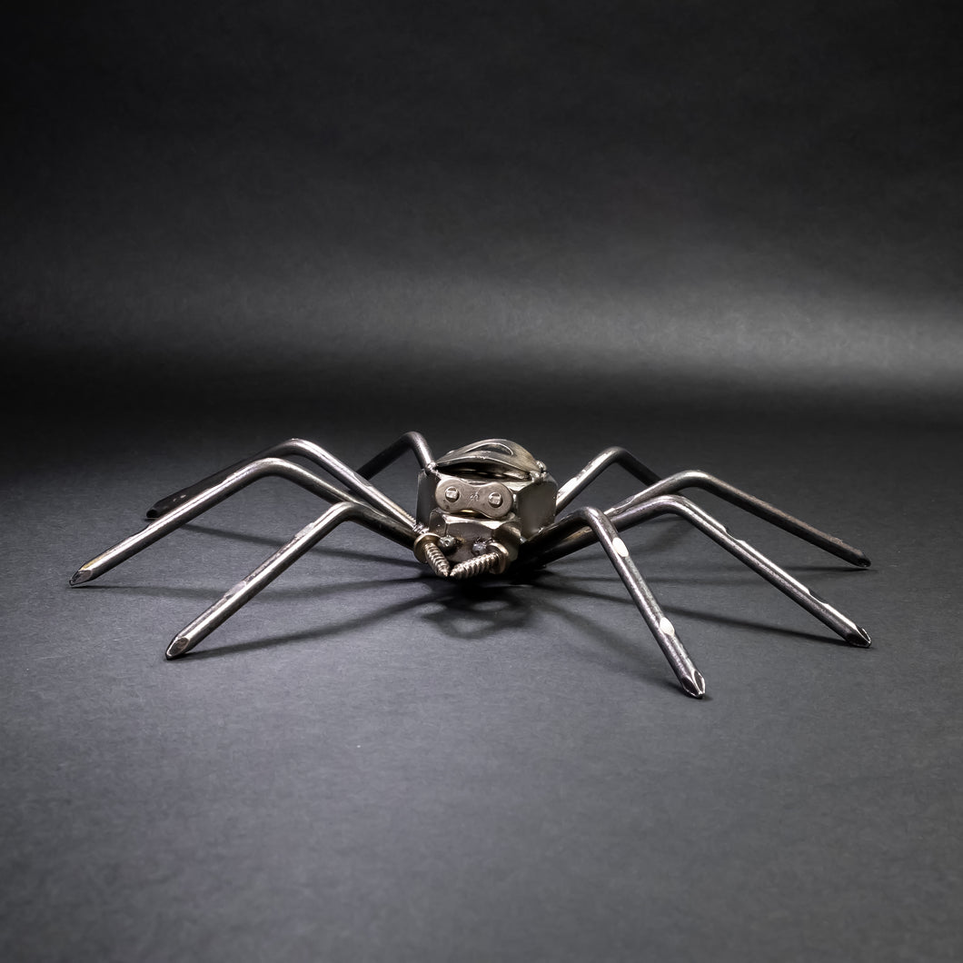 Scrap Metal Spider Figurine, Steel Spider, Metal Arachnid Tarantula Sculpture