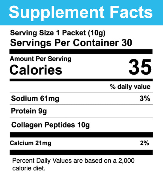Collagen stick pack supplement facts