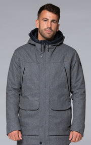 INSULATED TECH WOOL COAT