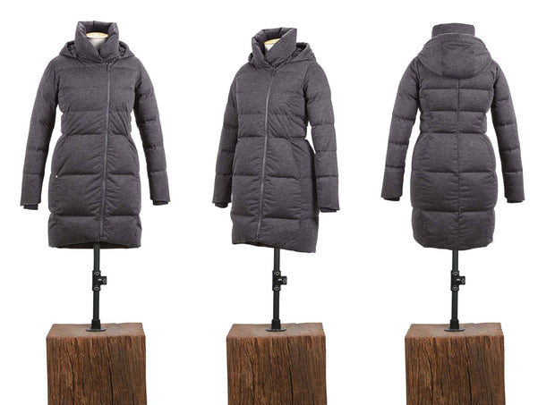 LAMINATED WOOL BLEND DOWN COAT