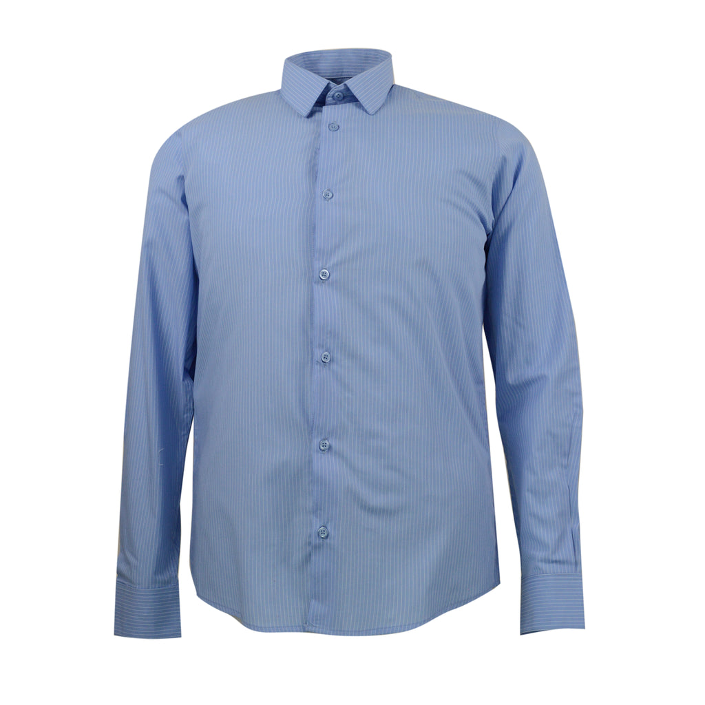 REF S-200023  CAMISA SLIM FIT MANGA LARGA AZUL ESTAMPADA