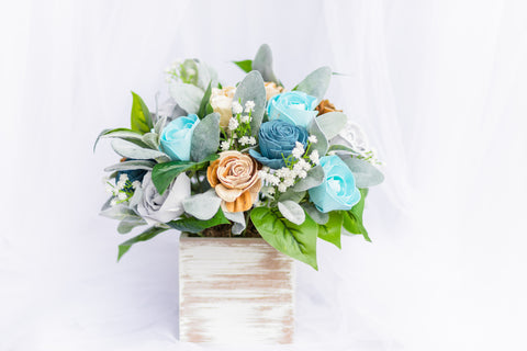 Image of Beautifully Blue - Sola Wood Flower Arrangement - Wood Flowers Co.