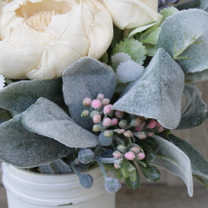 White Distressed Peony Floral Arrangement - Wood Flowers Co.