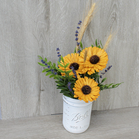 Rustic Sola Wood Sunflower Distressed Mason Jar - Wood Flowers Co.