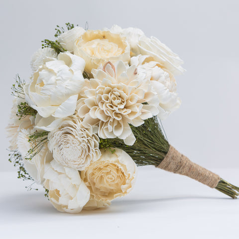 Sola Flower Bouquet - Ivory & Broom Bloom Wooden Flower Bouquet - Wood Flower - Wedding Flowers - Wooden Bridal Bouquet - Wood Flowers Co.