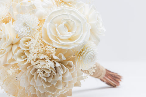 Sola Flower Bouquet - Rustic Ivory Wedding Flowers - Wooden Flowers - Rustic Wedding - Wood Flowers Co.