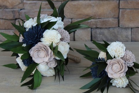 Image of Navy & Tan Wood Flower Wedding Bouquet - Wedding Flowers - Wooden Flowers - Wooden Wedding - Wood Flowers Co.