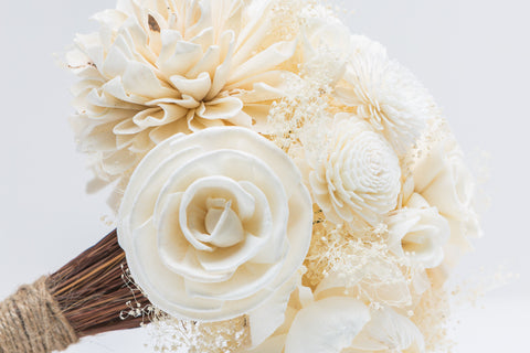 Image of Sola Flower Bouquet - Rustic Ivory Wedding Flowers - Wooden Flowers - Rustic Wedding - Wood Flowers Co.