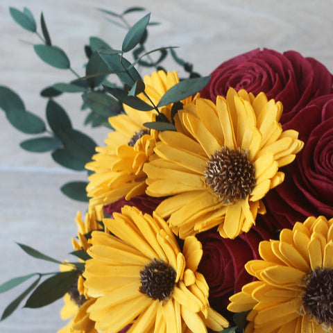 Image of Sola Wood Flower Bouquet - Sunflower & Rose Wood Flower Bouquet - Wood Flower - Wood Flowers Bouquet - Wood Flowers Co.