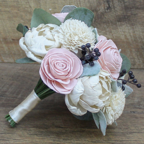 Sola Wood Flower Bouquet - Blush and Ivory Wood Flowers - Romantic Wedding - Rustic Wood Flower Wedding - Wood Flowers Co.