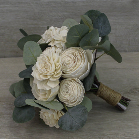 Sola Wood Flower Bouquet - White Flowers and Greenery - Rustic Wood Flower Bouquet - Wood Flowers Co.