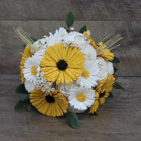 Sola Wood Flower Bouquet - Sunflower, Rose, and Daisy Wood Flower Bouquet - Rustic Sunflower Wedding - Wood Flowers Co.