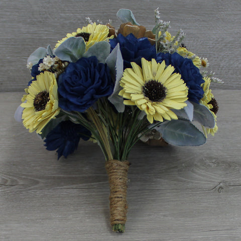 Sola Wood Flower Bouquet - Sunflower Wood Bouquet - Rustic Wedding Bouquet - Wood Flowers Co.