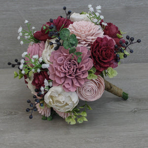 Sola Wood Flower Bouquet - Wine, Blush, Dusty Rose, and Ivory - Rustic, Romance Wedding - Wood Flowers Co.
