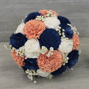 Sola Wood Flower Bouquet - Coral, Navy Blue, Ivory Wood Flowers - Rustic Wood Bouquet - Wood Flowers Co.