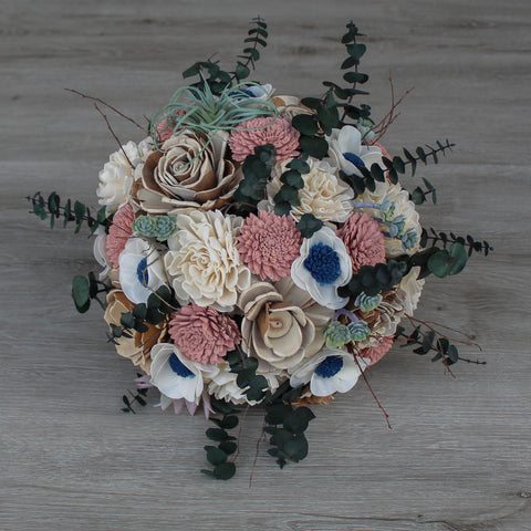 Image of Sola Wood Flower Bouquet - Dusty Rose & Succulent Wood Flower Bouquet - Wood Flower - Wood Flowers Bouquet - Wood Flowers Co.
