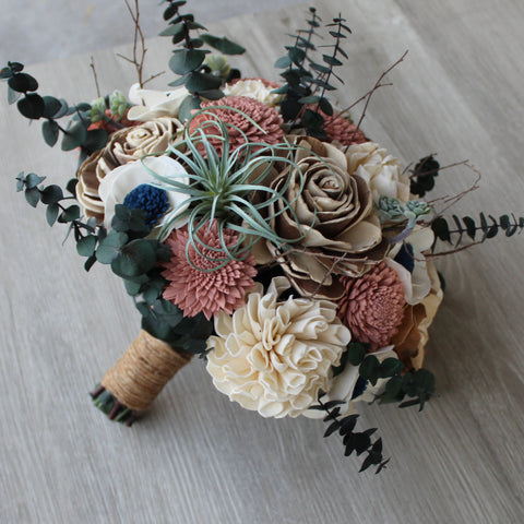 Sola Wood Flower Bouquet - Dusty Rose & Succulent Wood Flower Bouquet - Wood Flower - Wood Flowers Bouquet - Wood Flowers Co.