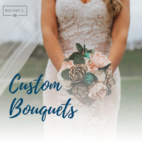 Image of Custom Wood Flower Bouquet - Wood Flower Bouquet - Rustic Wedding - Wood Flowers Co.