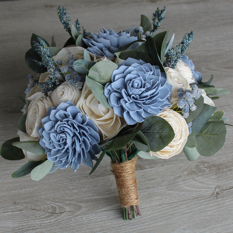 Image of Sola Wood Bouquet - Dusty Blue Wood Flower Bouquet - Rustic Wedding - Wood Flowers Co.