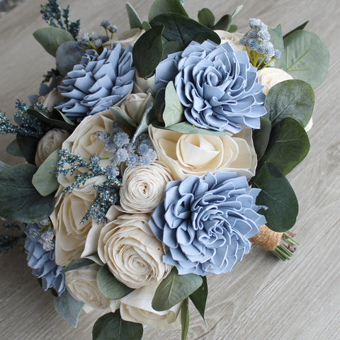 Sola Wood Bouquet - Dusty Blue Wood Flower Bouquet - Rustic Wedding - Wood Flowers Co.