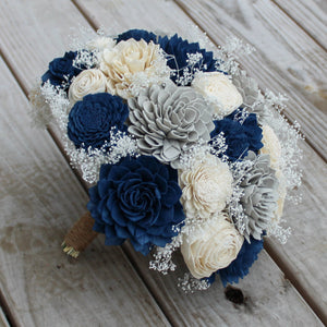 Sola Wood Flower Bouquet - Navy Blue, Gray, and Ivory  - Simple Round Wood Flower Bouquet - Wood Flowers Co.