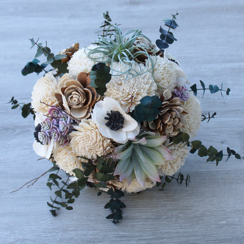 Sola Wood Flower Bouquet - Woodsy Wedding - Wooden Anemone Bouquet - Rustic Wedding - Wood Flowers Co.