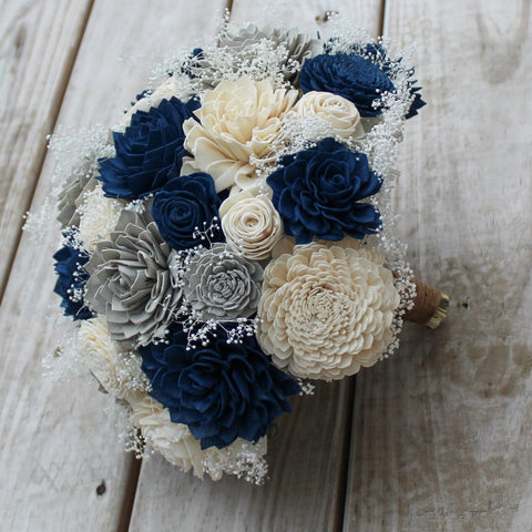 Image of Sola Wood Flower Bouquet - Navy Blue, Gray, and Ivory  - Simple Round Wood Flower Bouquet - Wood Flowers Co.