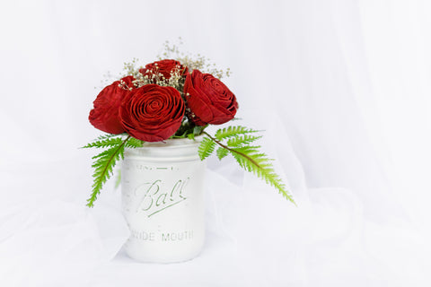 Image of 16oz Red Rose Wood Flower Mason Jar Arrangement - Wood Flowers Co.