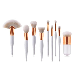 9PCS WHITE COSMETIC MAKEUP BRUSHES SET - BEAUTY