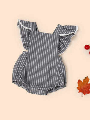BABY POM TRIM RUFFLE STRIPED ROMPER - KID - 5% POLYESTER 95% COTTON CASUAL FABRIC HAS NO STRETCH
