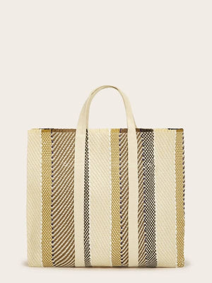 COLOR BLOCK WOVEN TOTE BAG - BAG - 100% COTTON BLENDS BAGS BOHO DOUBLE HANDLE MEDIUM