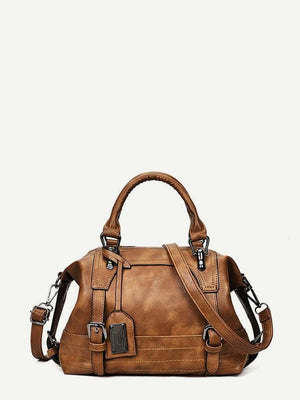 DOUBLE BUCKLE SATCHEL BAG - BAG - BAGS