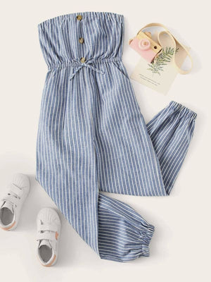 GIRLS BUTTON FRONT STRIPED BANDEAU JUMPSUIT - KID - 20% POLYESTER 80% COTTON BLUE BOHO