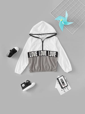 GIRLS LETTER PRINT COLOR BLOCK HOODIE JACKET - KID - 100% NYLON CASUAL COLORBLOCK FABRIC HAS NO STRETCH FALL