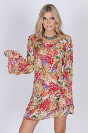 RAGA BIRDS OF PARADISE TUNIC DRESS - DRESSES - $75 - $100 APPAREL CASUAL MODALYST