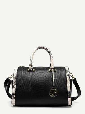 SNAKE EMBOSSED SATCHEL BAG - BAG - BAGS