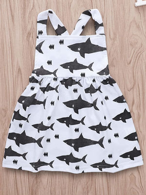 TODDLER GIRLS ALLOVER SHARK PRINT PINAFORE DRESS - KID - 35% POLYESTER 65% COTTON A ANIMAL BLACK AND WHITE