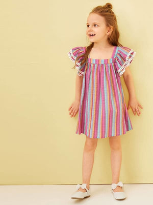 TODDLER GIRLS RUFFLE SHOULDER POMPOM TRIM RAINBOW STRIPED DRESS - KID - 5% POLYESTER 95% COTTON CASUAL FABRIC HAS NO STRETCH