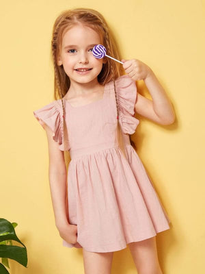 TODDLER GIRLS RUFFLE TRIM SOLID DRESS - KID - 35% POLYESTER 65% COTTON A LINE BUTTERFLY SLEEVE