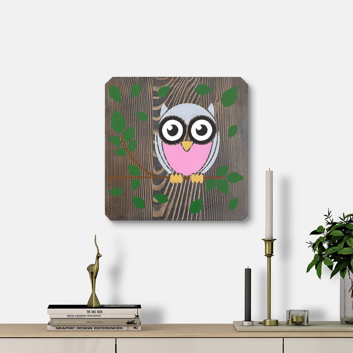 WoodColor - Owl Pink (Black Background)