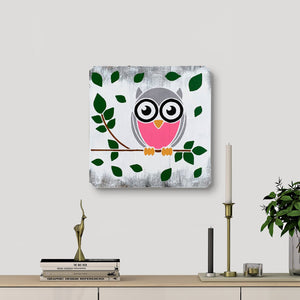 WoodColor - Owl Pink (White background)