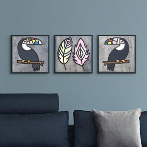 WoodColor - Parrot Coco, Feather and Parrot Larry Set (3 Pieces)