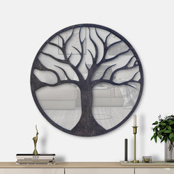 WoodMirror -  Tree of Life - Wall Mirror,  Geometric Mirror, Wood Mirror, Framed Mirror, Bathroom Decor, Entryway Decor, Minimalist