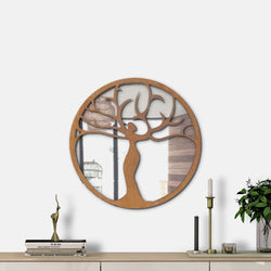 WoodMirror -  Tree of Life II - Wall Mirror,  Geometric Mirror, Wood Mirror, Framed Mirror, Bathroom Decor, Entryway Decor, Minimalist