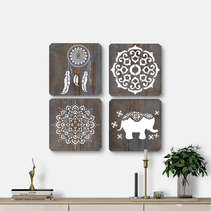 WoodColor - Black Mandala Series (4 pieces)