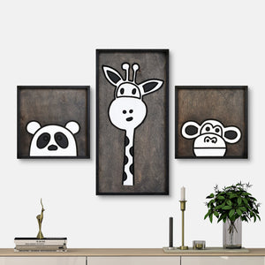 WoodColor - Panda Giraffe Monkey Series (3 pieces)