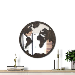 WoodMirror -  World Mirror - Wall Mirror,  Geometric Mirror, Wood Mirror, Framed Mirror, Bathroom Decor, Entryway Decor, Minimalist